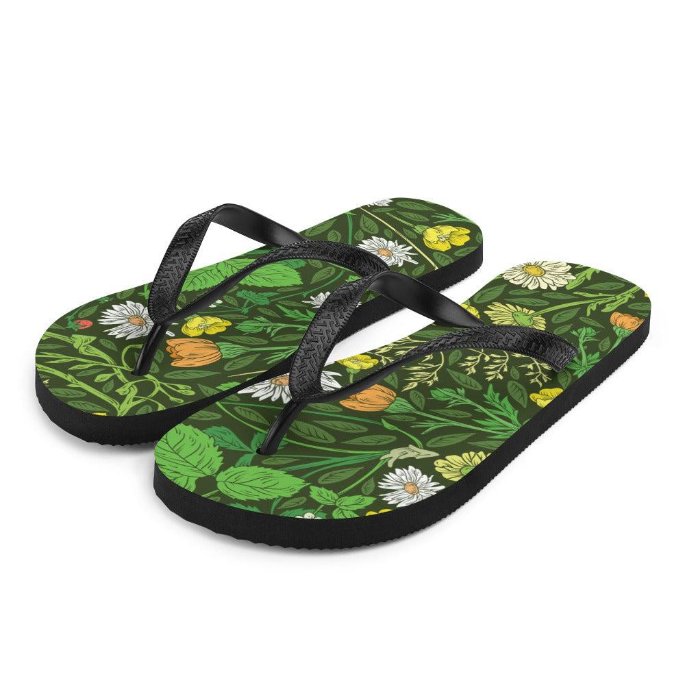 Daisy Green Sublimation Flip-Flops