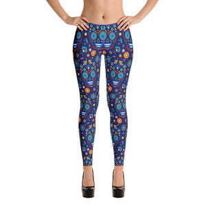 Day of the Dead Skull Halloween All-Over Print Women's Leggings - XS - UPKIWI