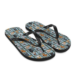 Dog Portraits Sublimation Flip-Flops - - UPKIWI