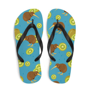Kiwi Bird and Fruit Sublimation Flip-Flops - - UPKIWI