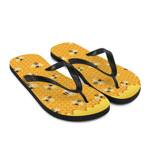 Honey Bee Sublimation Flip-Flops - - UPKIWI