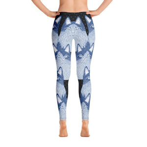 Clever Cat Blue Women's All-Over Print Leggings - - UPKIWI