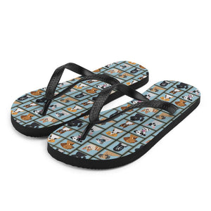Dog Portraits Sublimation Flip-Flops - S - UPKIWI