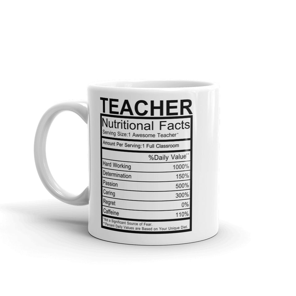 Teacher Nutrition Facts Mug - UPKIWI