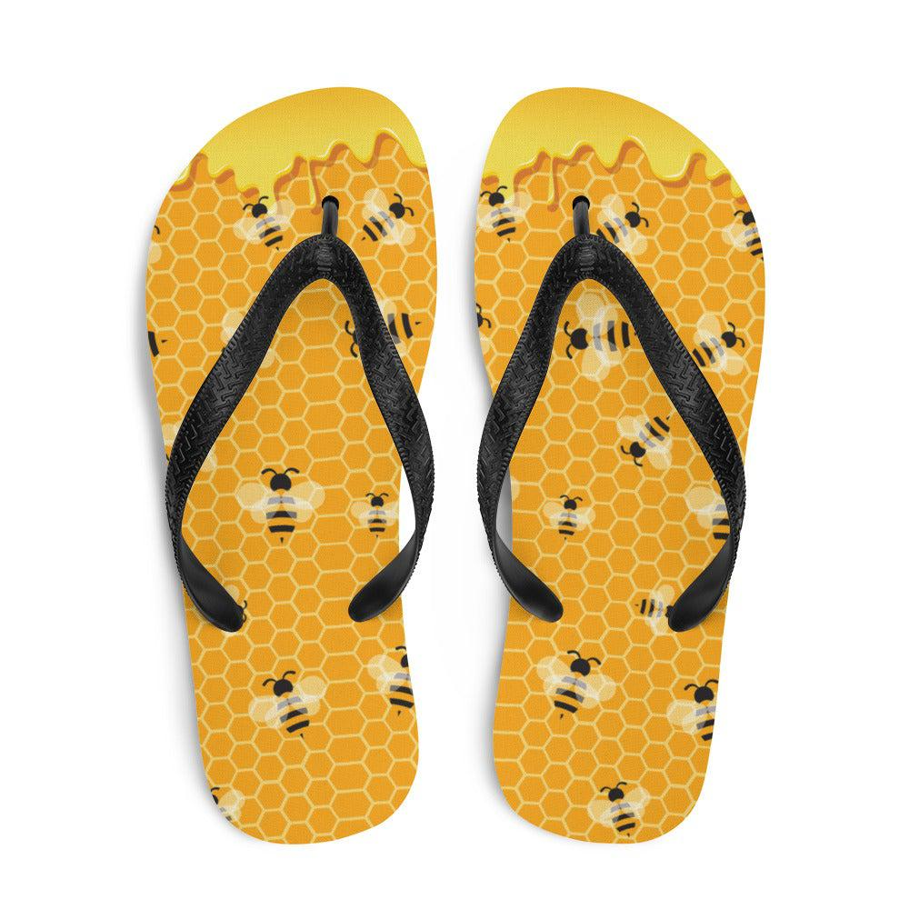 Honey Bee Sublimation Flip-Flops - S - UPKIWI