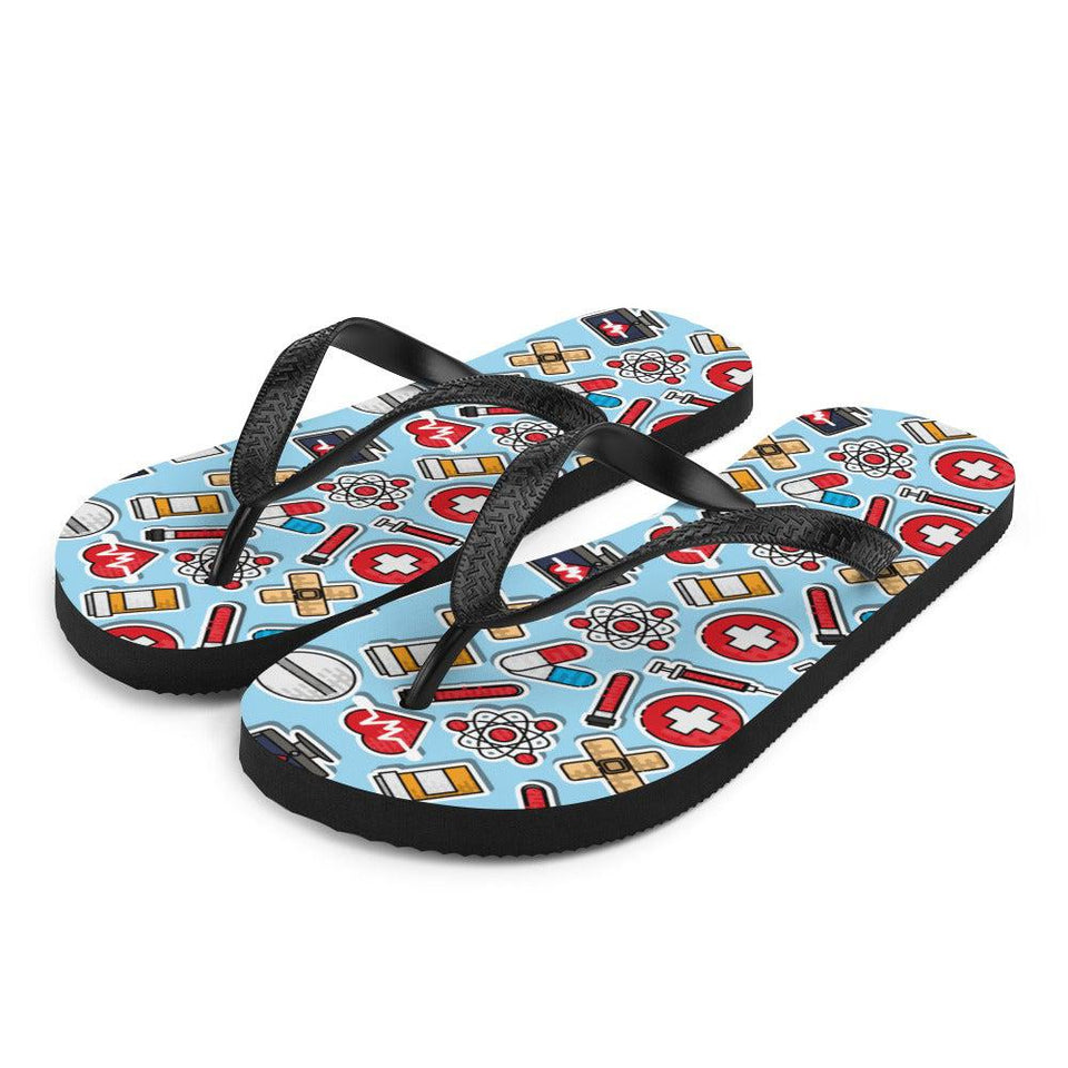 Medical Doctor Nursing Pattern Sublimation Flip-Flops - S - UPKIWI