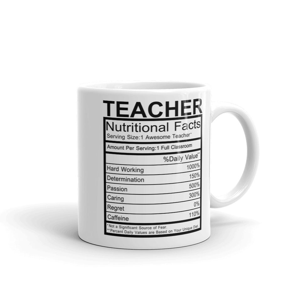 Teacher Nutrition Facts Mug - Default Title - UPKIWI