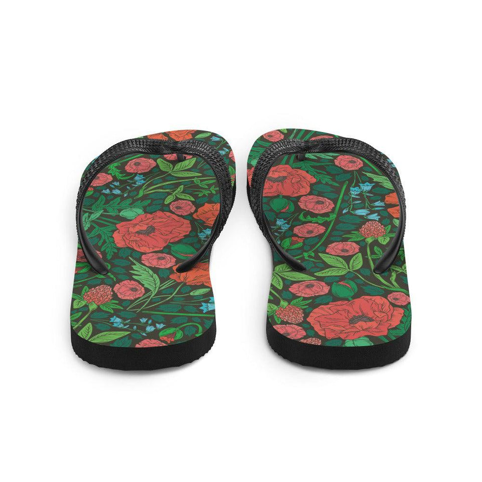 Floral Meadow Sublimation Flip-Flops - - UPKIWI