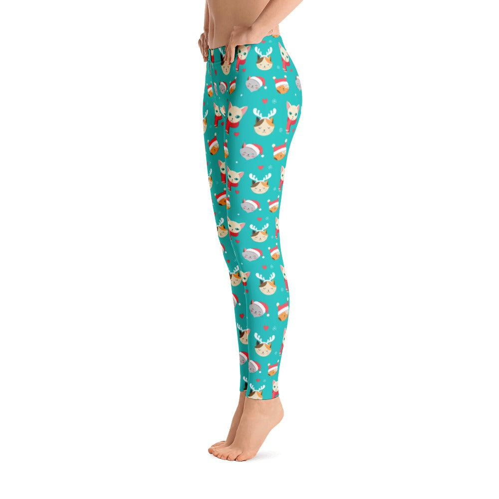 Christmas Cat All-Over Print Women's Leggings - UPKIWI