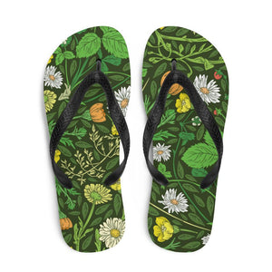 Daisy Green Sublimation Flip-Flops - - UPKIWI