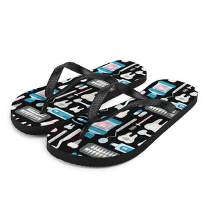 Dental Tool Pattern Sublimation Flip-Flops - S - UPKIWI