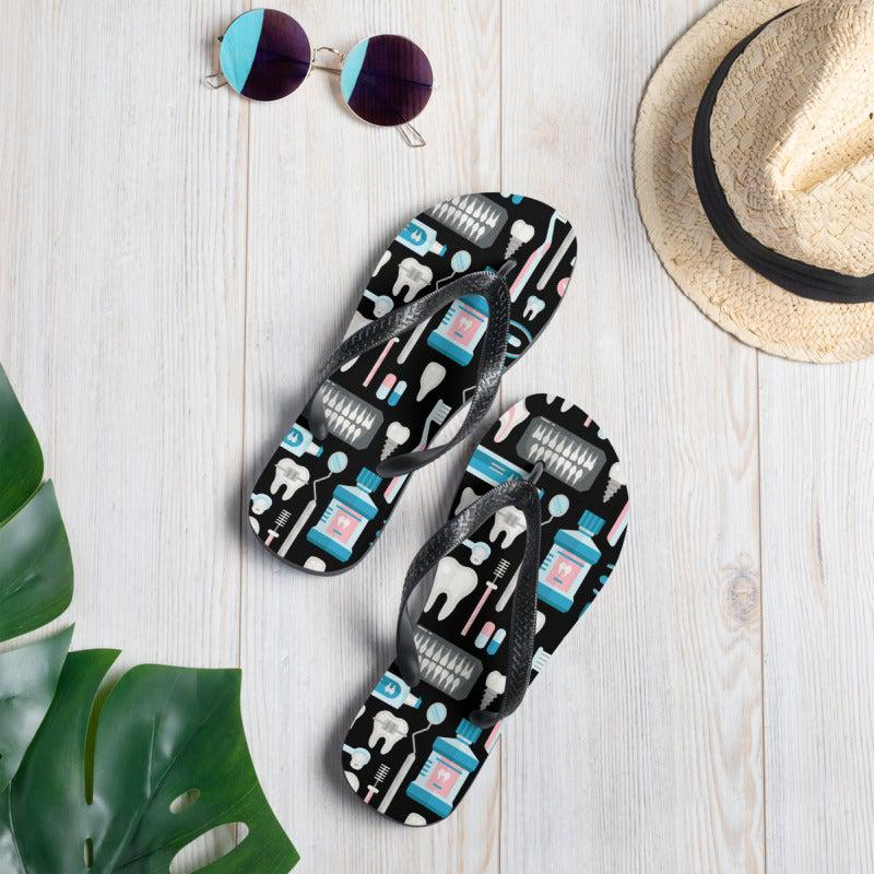 Dental Tool Pattern Sublimation Flip-Flops - - UPKIWI