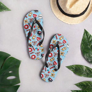 Medical Doctor Nursing Pattern Sublimation Flip-Flops - - UPKIWI