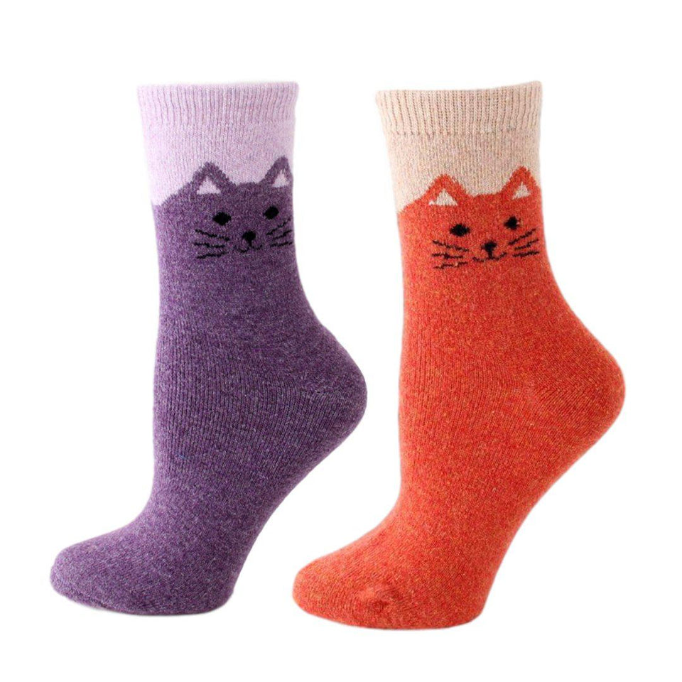 Happy Cat Feet Extra Thick and Warm Women's Wool Socks - 2 Pairs- Orange Purple / Women's Shoe Size 6-12 - UPKIWI