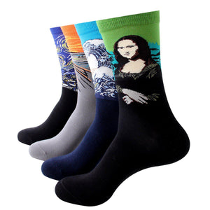 Fine Art Painting Men's Crew Socks - Men's Shoe Size 7-11 / 4 Pairs Pack - UPKIWI
