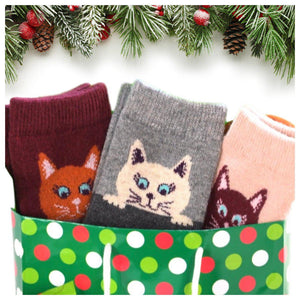 Peekaboo Cat Wool Blend Socks - UPKIWI