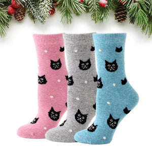 Snowy Cat Wool Blend Socks- Limited Time Offer - UPKIWI