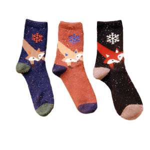 Snowflake Fox Lightweight Wool Blend Socks - 3 Pairs Pack / Women's Shoe Size 5-10 - UPKIWI