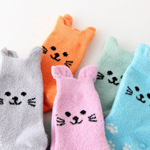 Fuzzy Cat Ear Coral Fleece Women's Cozy Winter Sleep Socks - - UPKIWI