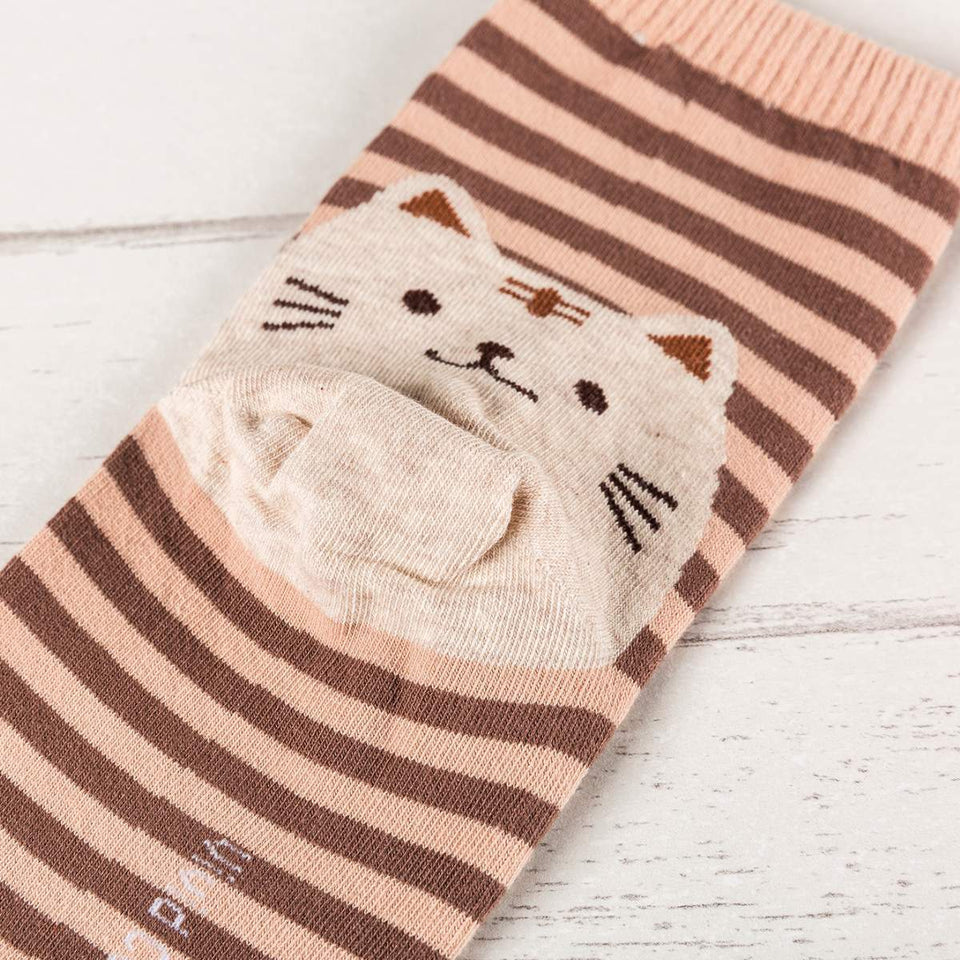 Striped Cat Women's Socks - - UPKIWI