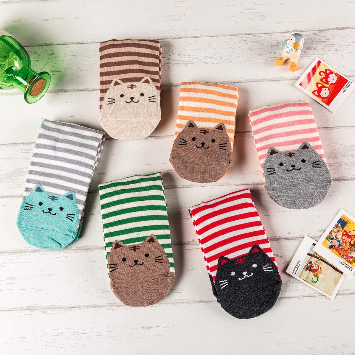 Striped Cat Women's Socks-UPKIWI