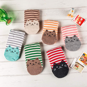 Striped Cat Women's Socks - 6 Pairs Pack / Women's Shoe Size 5-10 - UPKIWI