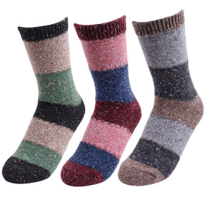 Colorful Striped Women's Nep Yarn Wool Blend Socks - 3 Pairs Pack / Women's Shoe Size 5-9 - UPKIWI