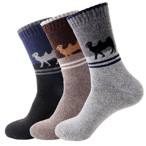 Camel Extra Thick and Warm Men's Wool Socks - 3 Pairs Pack / Men's Shoe Size 7-13 - UPKIWI