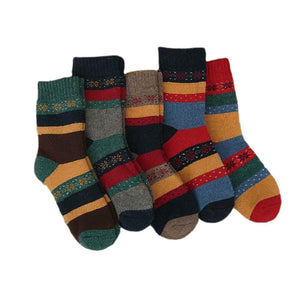 Vintage Snowflake Ultra Warm Wool Blend Socks - 5 Pairs Pack / Women's Shoe Size 5-10 - UPKIWI