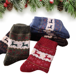 Vintage Reindeer Ultra Warm Wool Blend Socks - UPKIWI