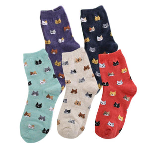 Cat Face Pattern Women's Ankle Socks - 5 Pairs Pack / Women's Shoe Size 5-10 - UPKIWI