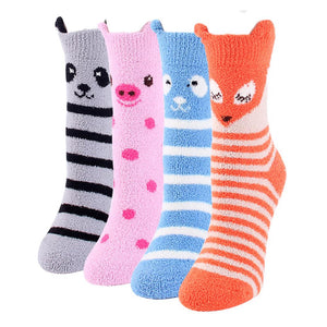 Fuzzy Animal Fox Ear Women's Soft Fleece Sleep Socks - 4 Pairs Pack / Women's Shoe Size 5-10 - UPKIWI