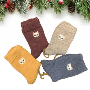 Embroidery Cat Ultra Thick and Warm Wool Blend Socks - 4 Pairs Pack / Women's Shoe Size 5-10 - UPKIWI