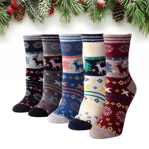 Christmas Reindeer Colorful Wool Socks - UPKIWI