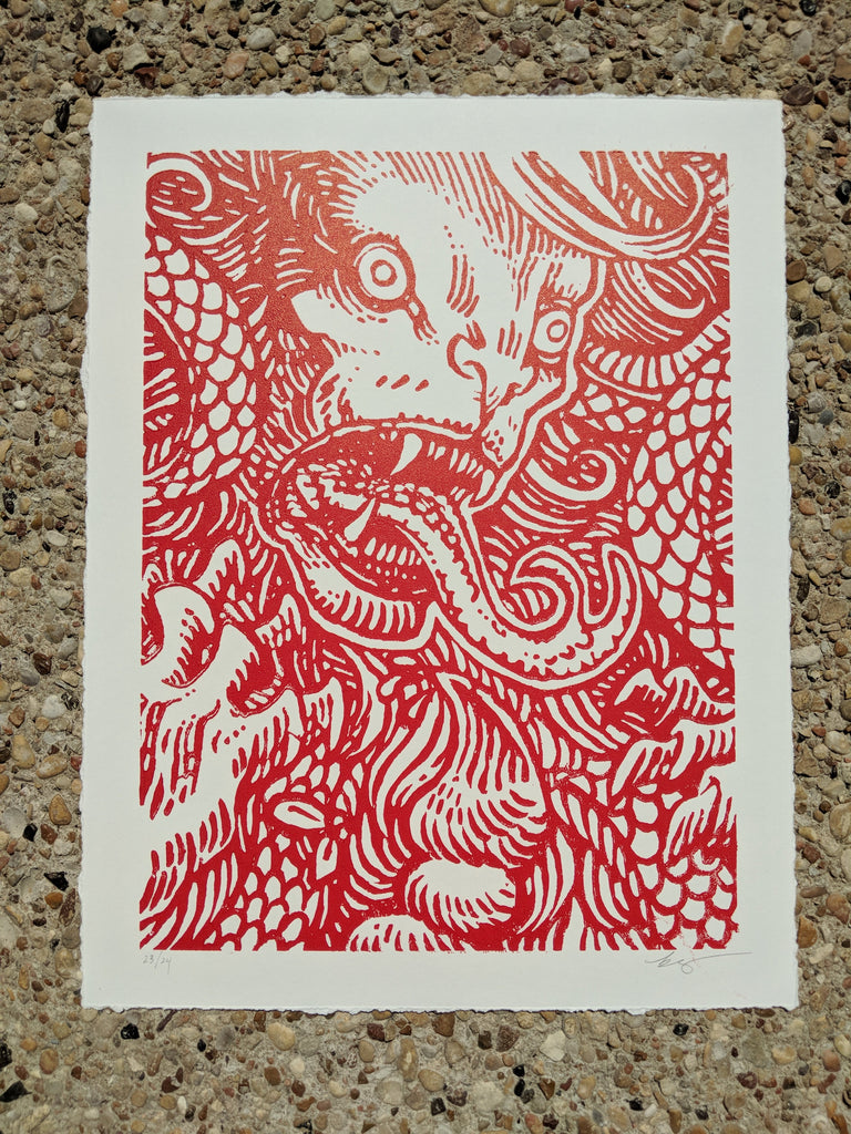 """Manticore"" woodblock print by Becky Cloonan"