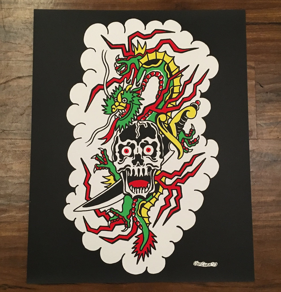 Old School Dragon & Skull By Matt Van Cura Poster
