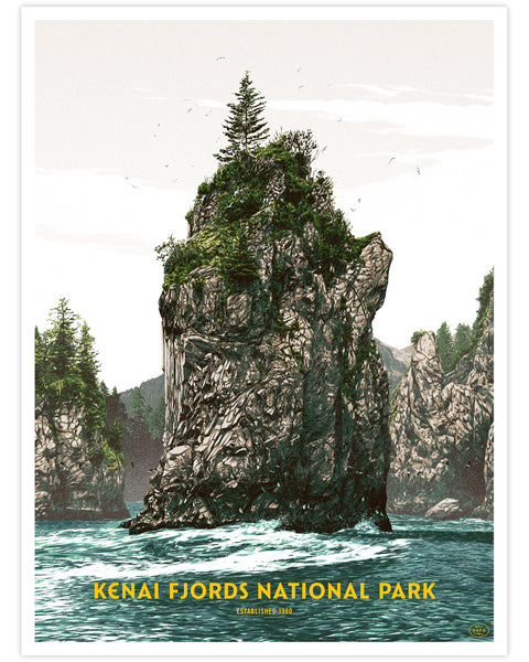 Kenai Fjords National Park Print (Fifty-Nine Parks Print Series) by Matthew Woodson