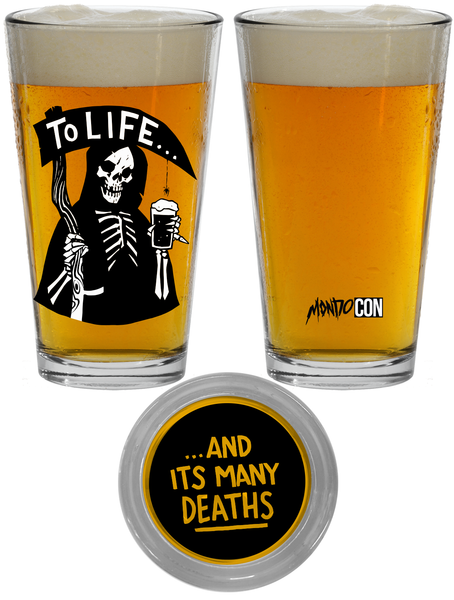 """To Life"" Pint Glass by Becky Cloonan"