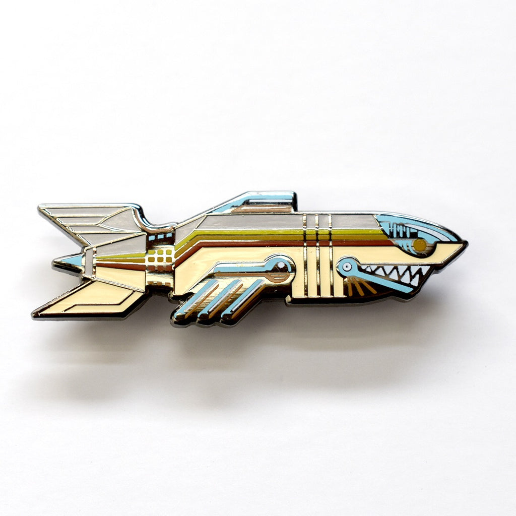 Robot Shark Enamel Pin by Ian Bederman