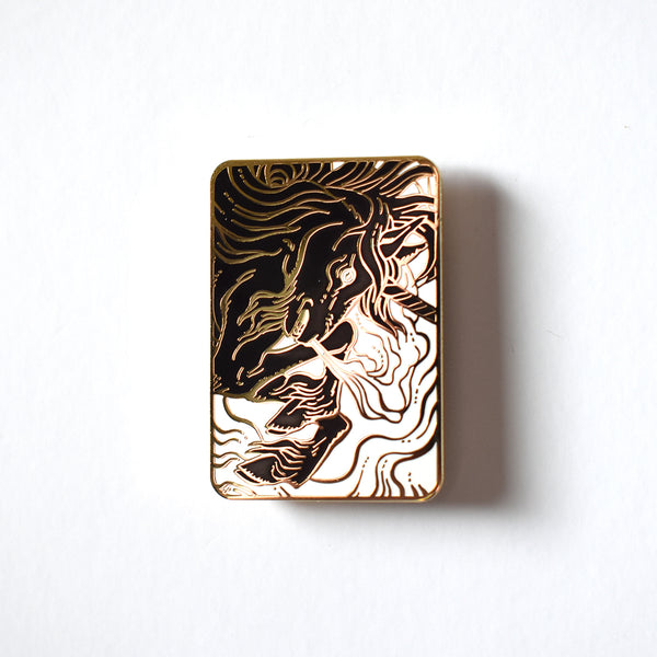 The Unicorn (Gold & Black) Enamel Pin by Becky Cloonan