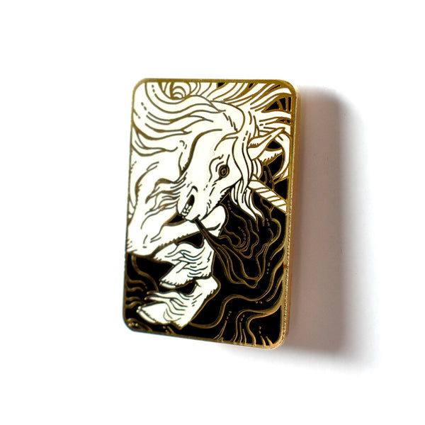 The Unicorn (Gold & White) Enamel Pin by Becky Cloonan