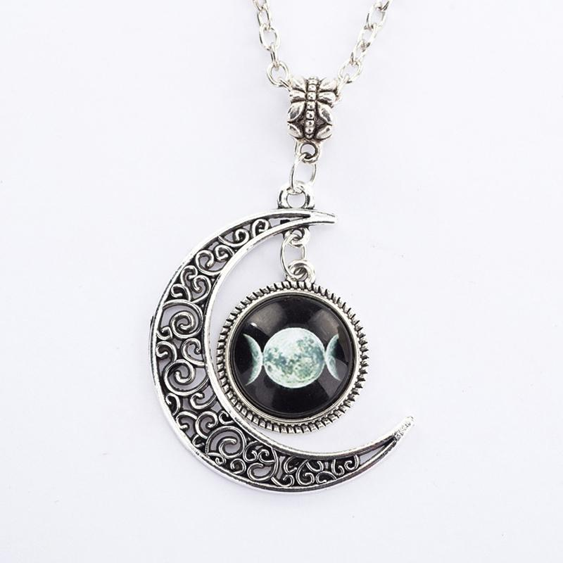 Bewitched Jewels 3 Wiccan Pagan Triple Moon Goddess Necklace
