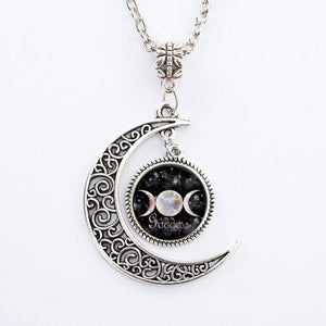 Bewitched Jewels 4 Wiccan Pagan Triple Moon Goddess Necklace