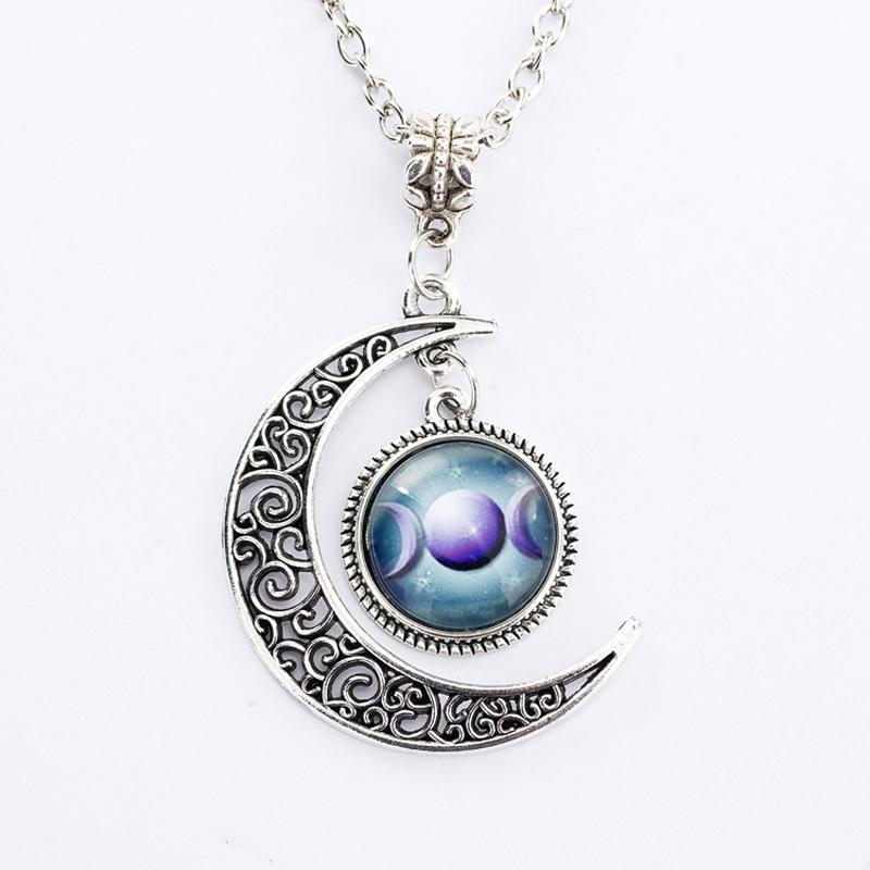 Bewitched Jewels 5 Wiccan Pagan Triple Moon Goddess Necklace