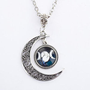 Bewitched Jewels 7 Wiccan Pagan Triple Moon Goddess Necklace