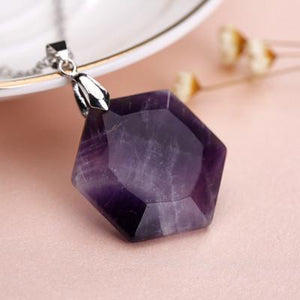 Bewitched Jewels Amethyst Natural Gemstone Healing Hexagon Necklace