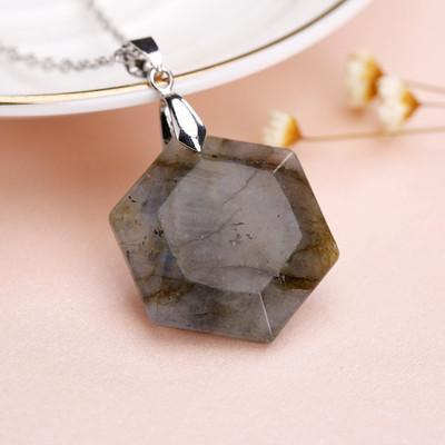 Bewitched Jewels Flash Stone Natural Gemstone Healing Hexagon Necklace