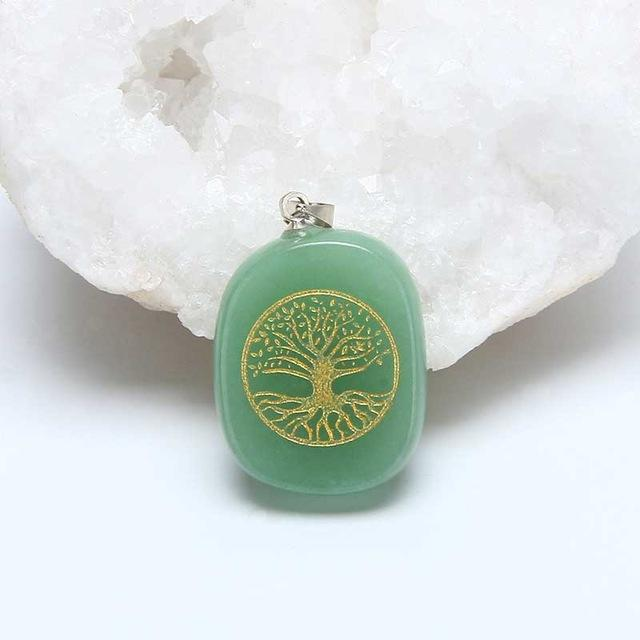 Bewitched Jewels Green Aventurine Carved Tree Of Life Healing Crystal Necklace