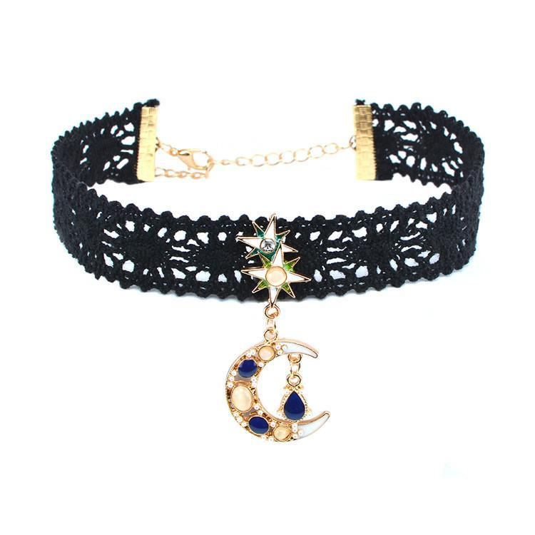Bewitched Jewels Moon Shape Black Lace Crystal Star And Moon Choker
