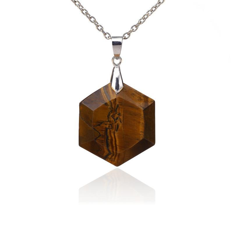 Bewitched Jewels Natural Gemstone Healing Hexagon Necklace